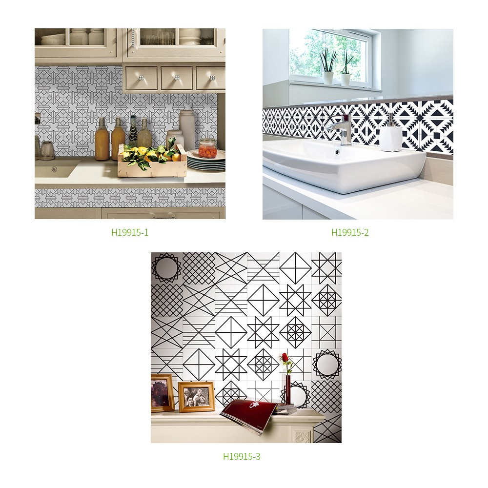 196 * 8 inches PVC Waterproof Self-adhesive 3D Black White Tile ...