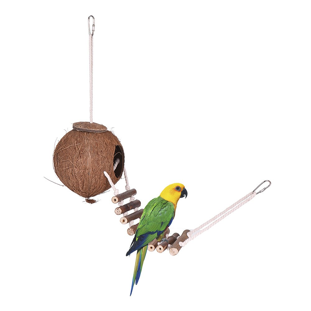 Parakeet Toys And Accessories : Bird house nest coco hideaway perch with ladder cage