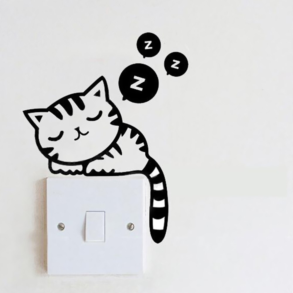 Removable light switch decal cat panda cute animals for Sala de estar kawaii