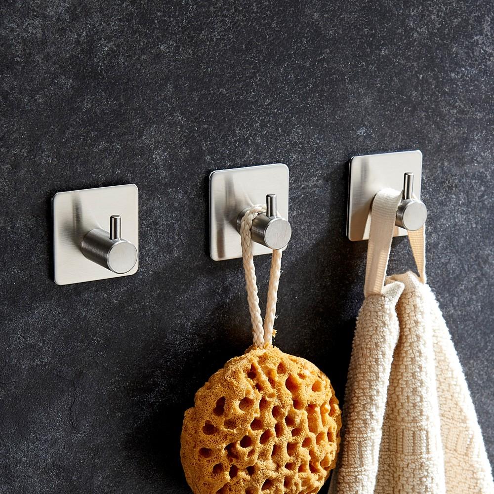 esonmus 4 teile satz selbstklebende edelstahl haken wand. Black Bedroom Furniture Sets. Home Design Ideas