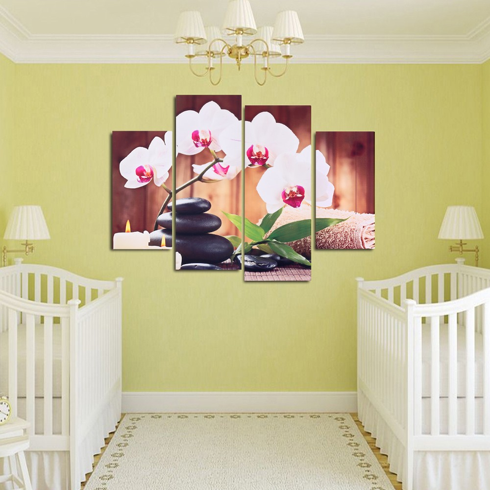 HD Printed 4-Panel Unframed Butterfly Orchid Pattern Canvas Painting ...