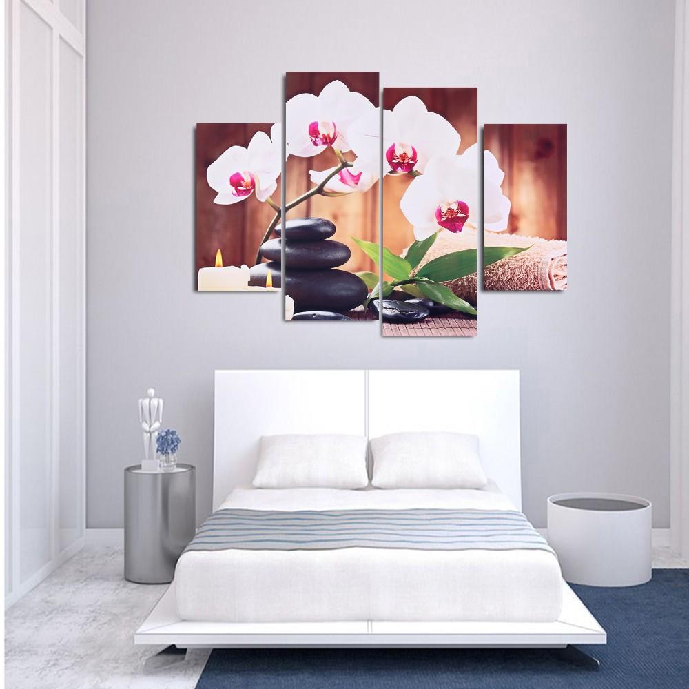 hd imprim 4 panneau sans cadre papillon orchid e motif toile peinture mur art modulaire photos. Black Bedroom Furniture Sets. Home Design Ideas