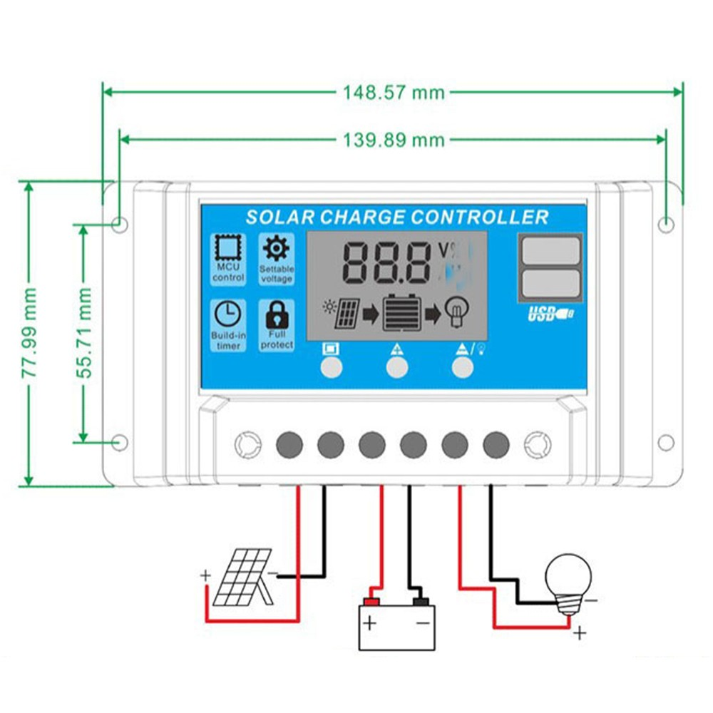 10a Solar Panel Controller Hd Lcd Battery Charge Regulator Voltage For Intelligent Home Use Street Lamp