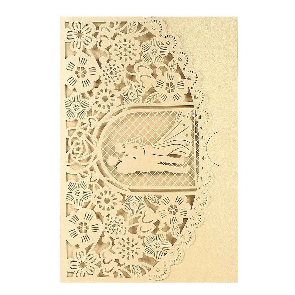 Wedding Invitation Card Cover Pearl Paper Laser Cut Bridal ...