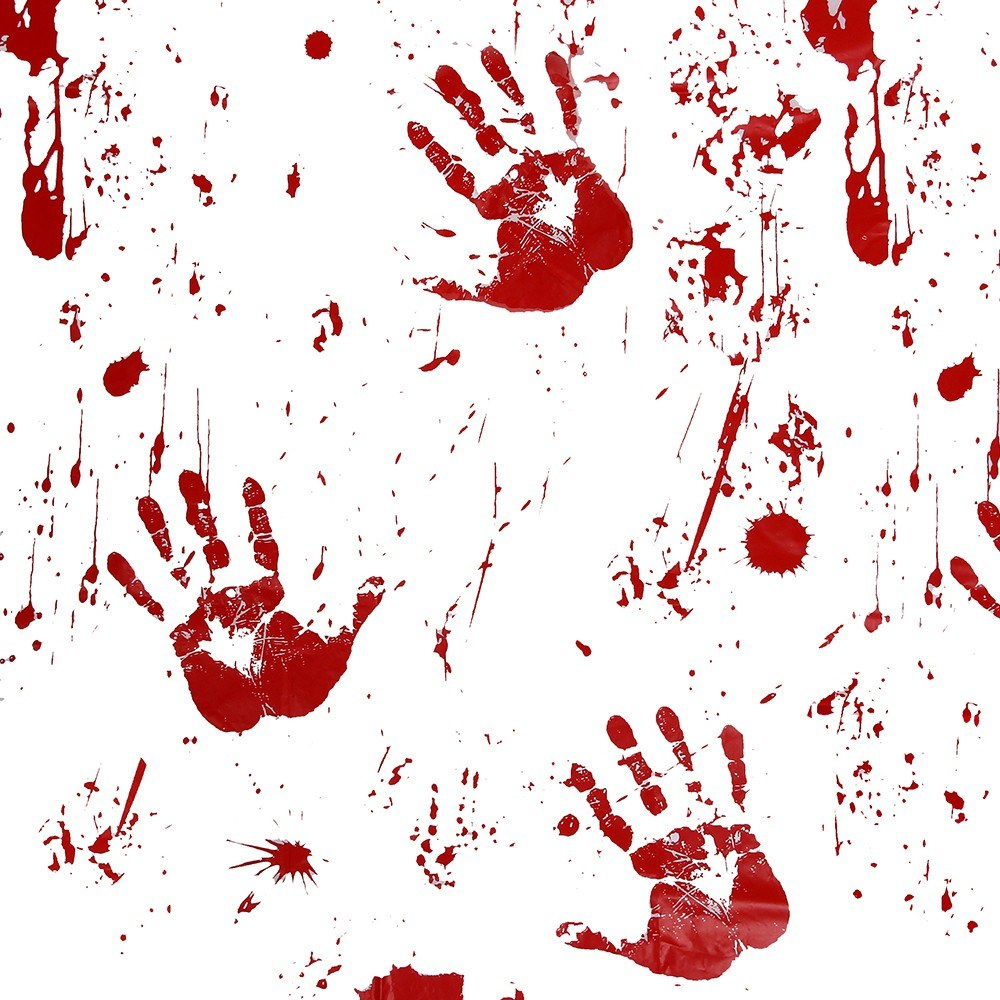 Horror Blood Table Cloth Bloody Handprint Printed Pattern Tablecloth