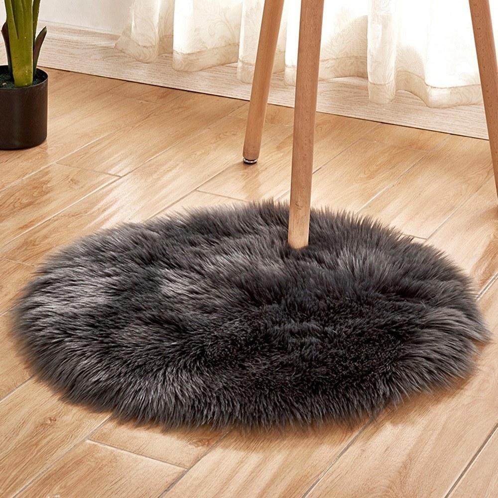 Soft Plush Round Fluffy Rugs Artificial Wool Floor Mat