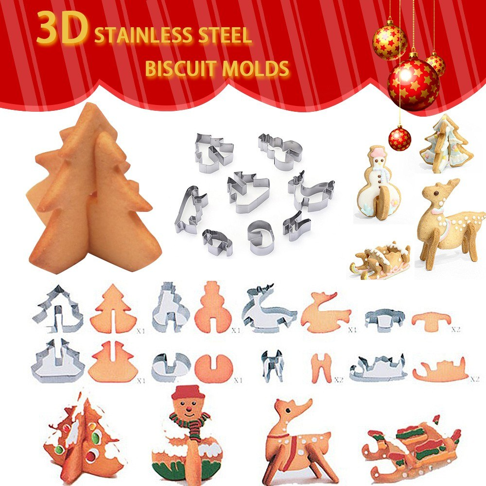 3D Gingerbread House Christmas Stainess Steel Fondant Cake Mould