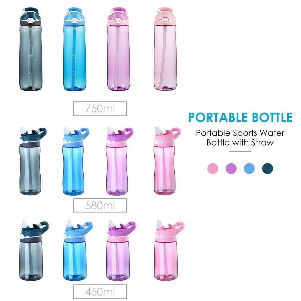 Water Bottle with Straw Portable Sports Water Cup