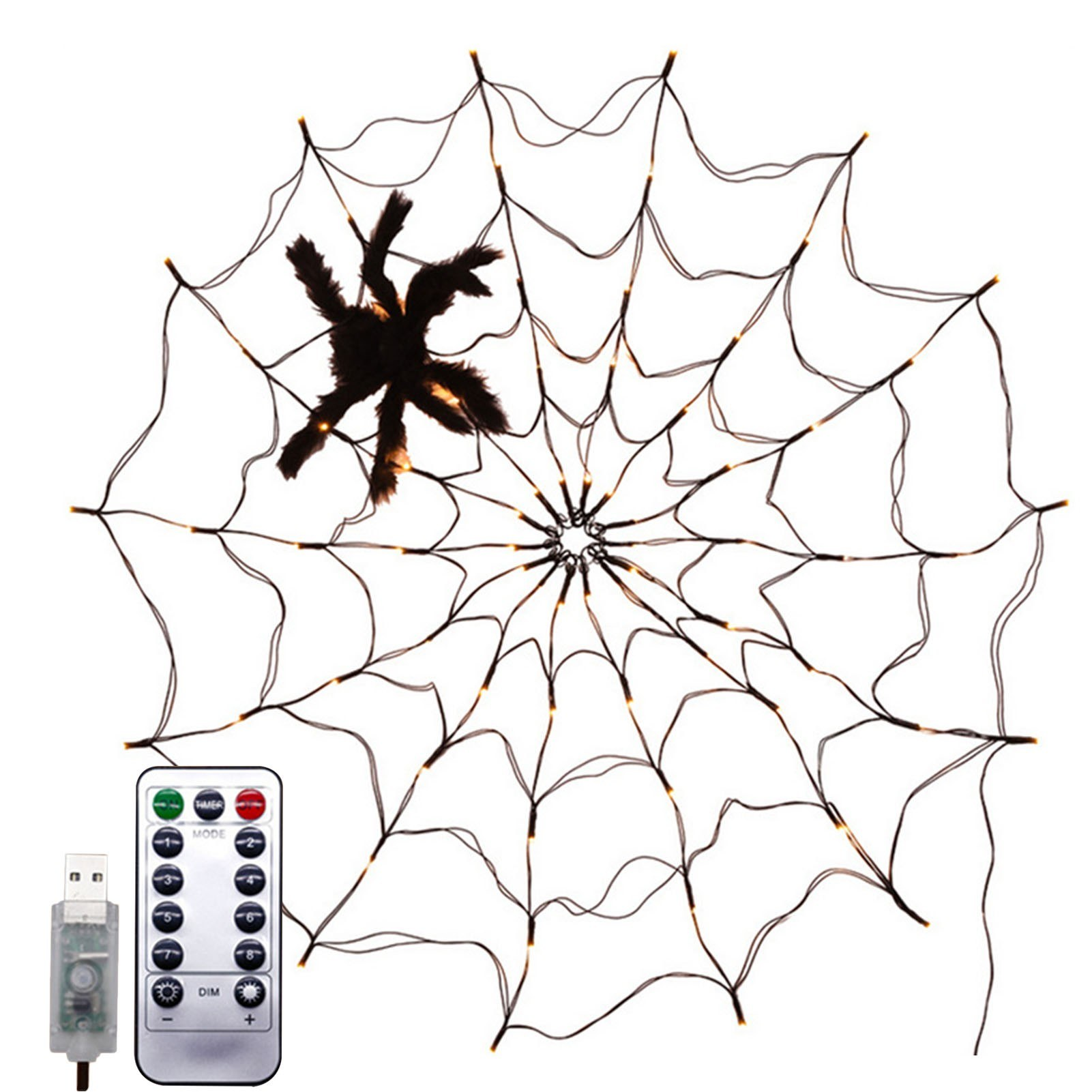 Tomtop - 56% OFF Spider Web Lamp with Black Spider Warm White Remote Control 8 Flashing Modes, $17.99 (Inclusive of VAT)