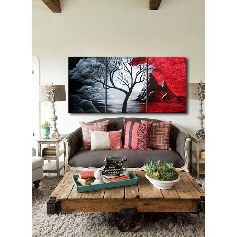 3pcs set de peinture l 39 huile peint la main sans cadre peinture du paysage naturel toile. Black Bedroom Furniture Sets. Home Design Ideas