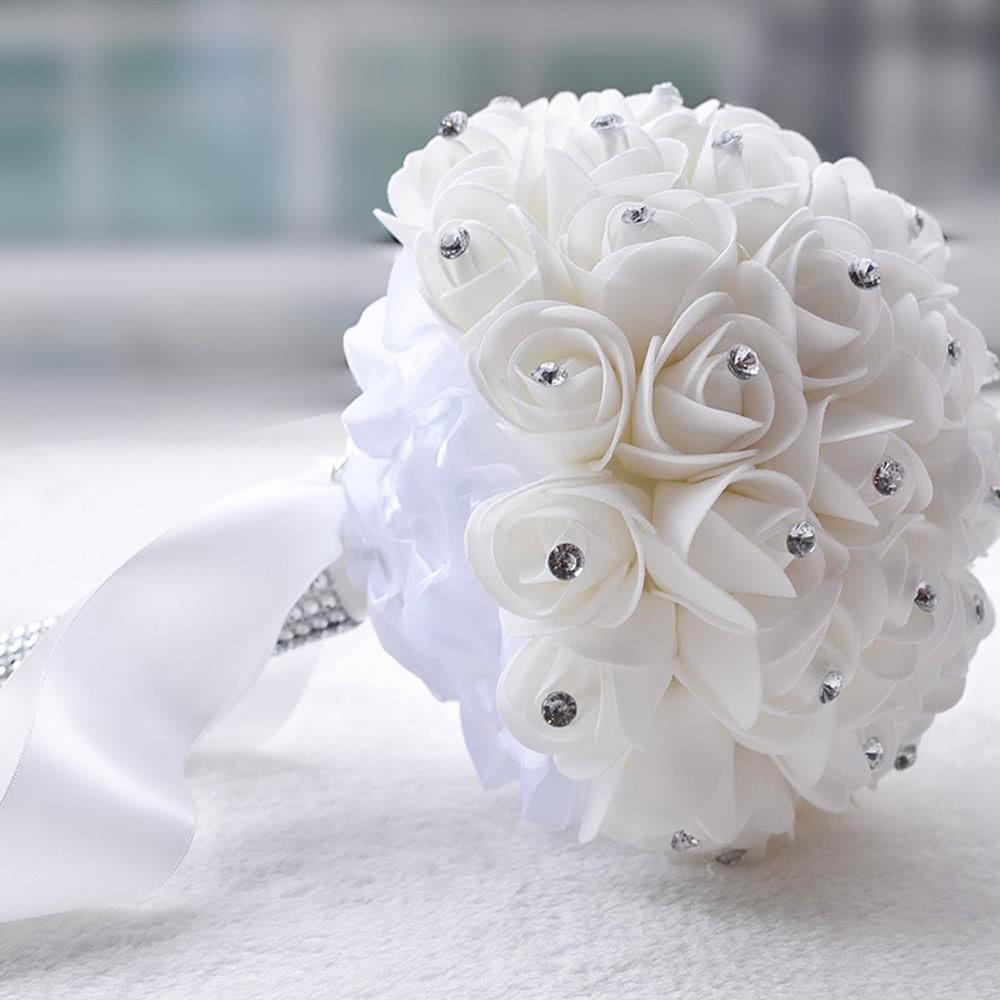 Bouquet de mari e artificiel rose bouquets belle demoiselle d honneur mari e ivoire blanc fleur - Strass pour bouquet de mariee ...
