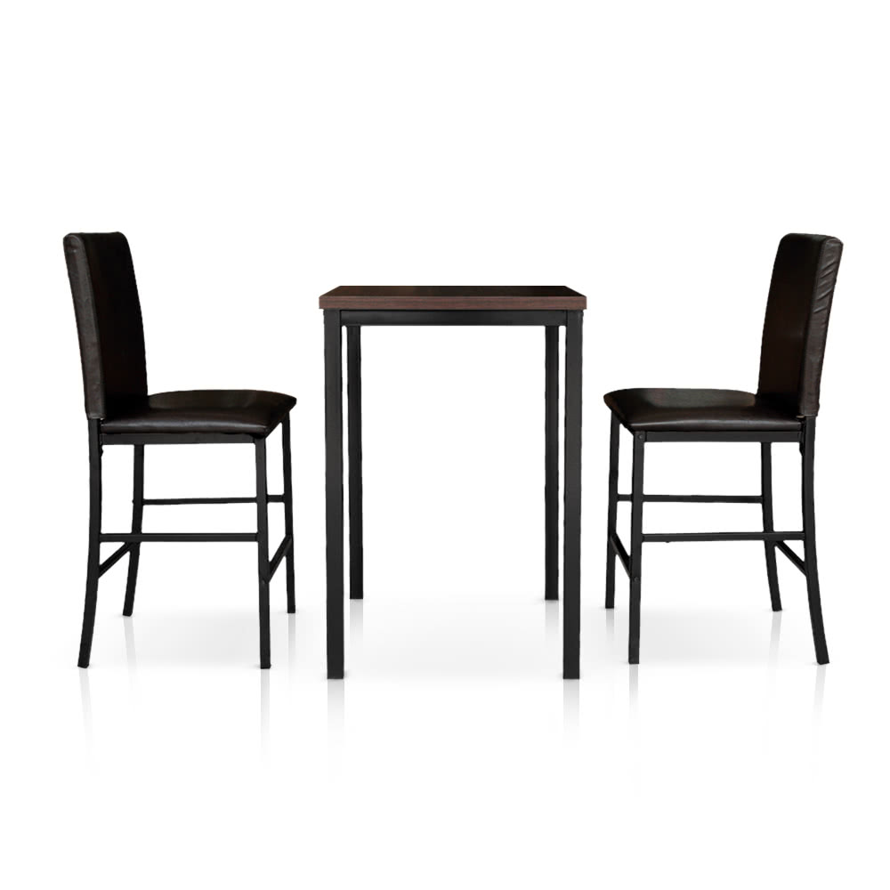iKayaa Modern 3PCS Pub Bar Table with 2 Chairs Indoor Bistro Set ...