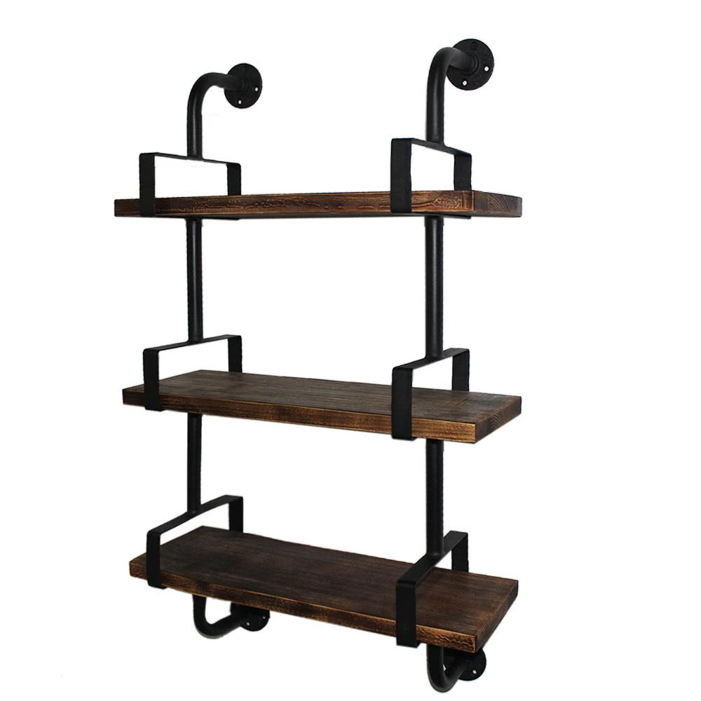IKayaa 3 Tier Rustic Industrial Iron Pipe Wall Shelves W