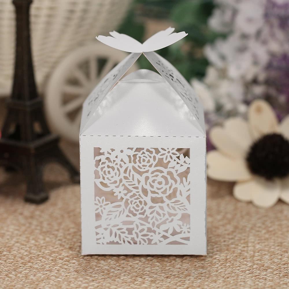 50pcs/set Mini Laser Cut Hollow Wedding Favor Box Candy Boxes White ...
