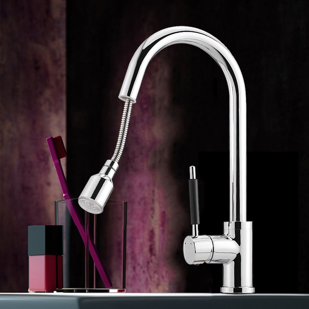 Kitchen Faucet with Pull Down Sprayer Temperature Sensor LED Light ...
