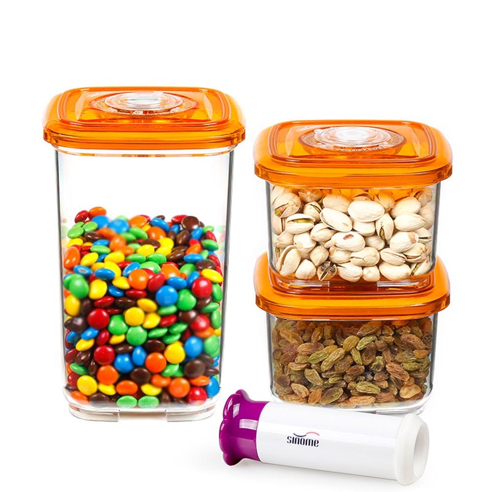 sinome 3pcsset Vacuum Storage Container with Handheld Vacuum Pump