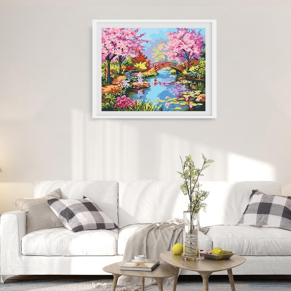 Frameless DIY Digital Oil Painting 16 * 20\'\' Spring Scenery Hand ...
