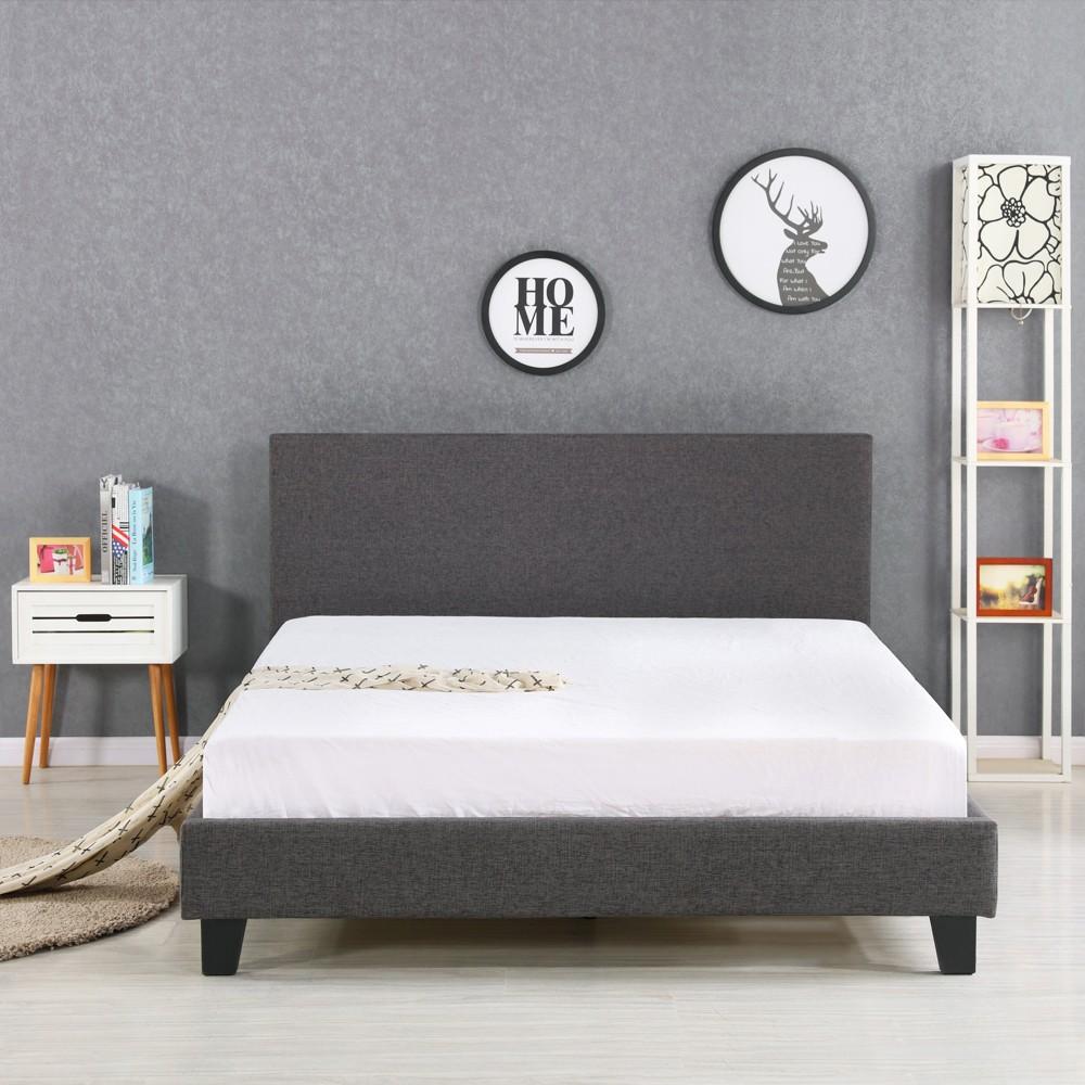 Ikayaa moderna king size frames letto imbottito piattaforma lino con legno stecche wingback - Telaio del letto ...