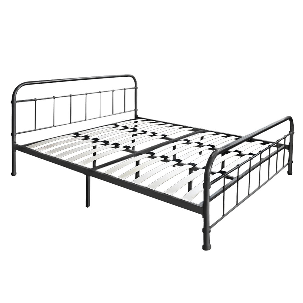 ikayaa moderne metall plattform bettgestell mit holzleisten f r full queen king. Black Bedroom Furniture Sets. Home Design Ideas