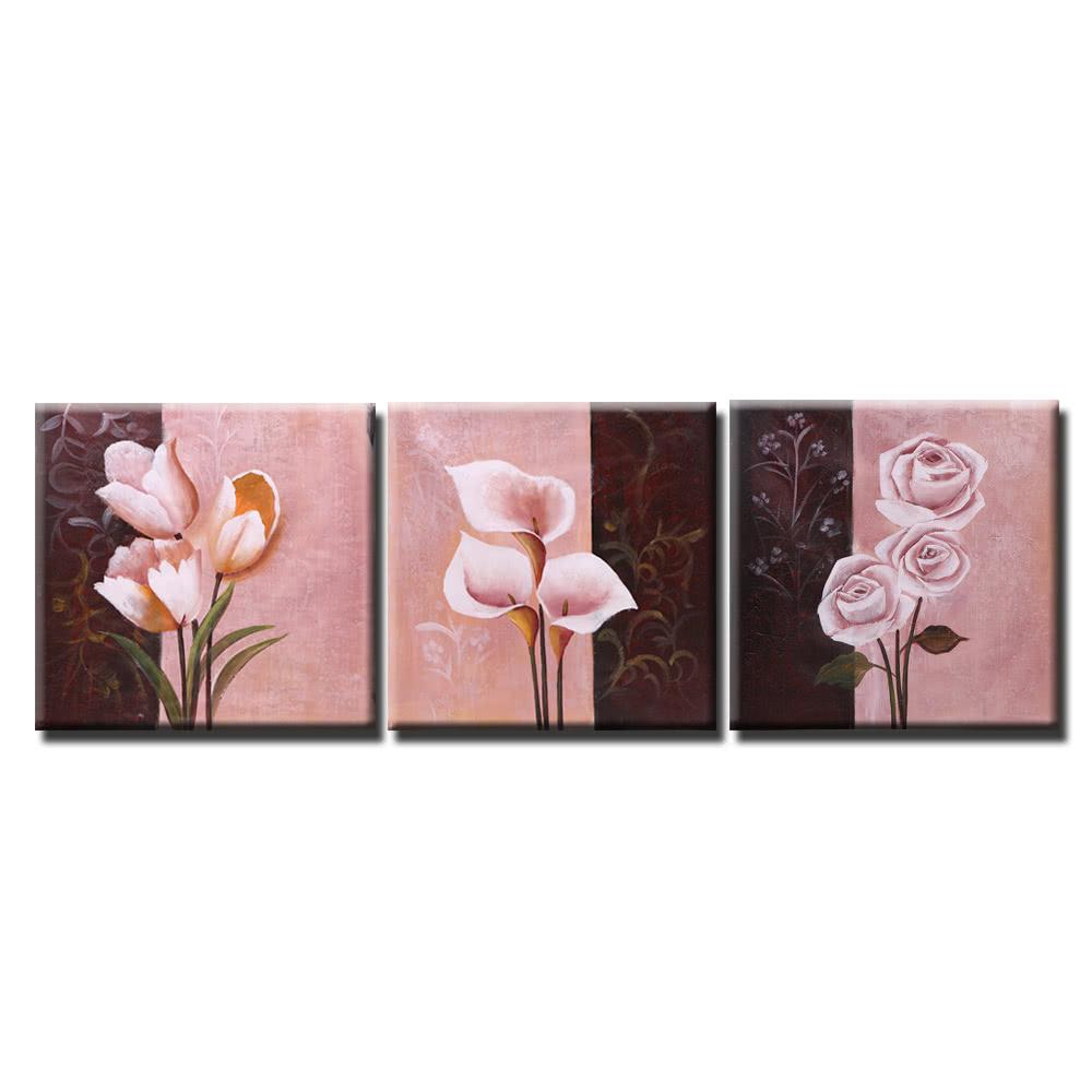 Sin marco 3pcs mano Pintura al óleo pintada Conjunto flor de la ...