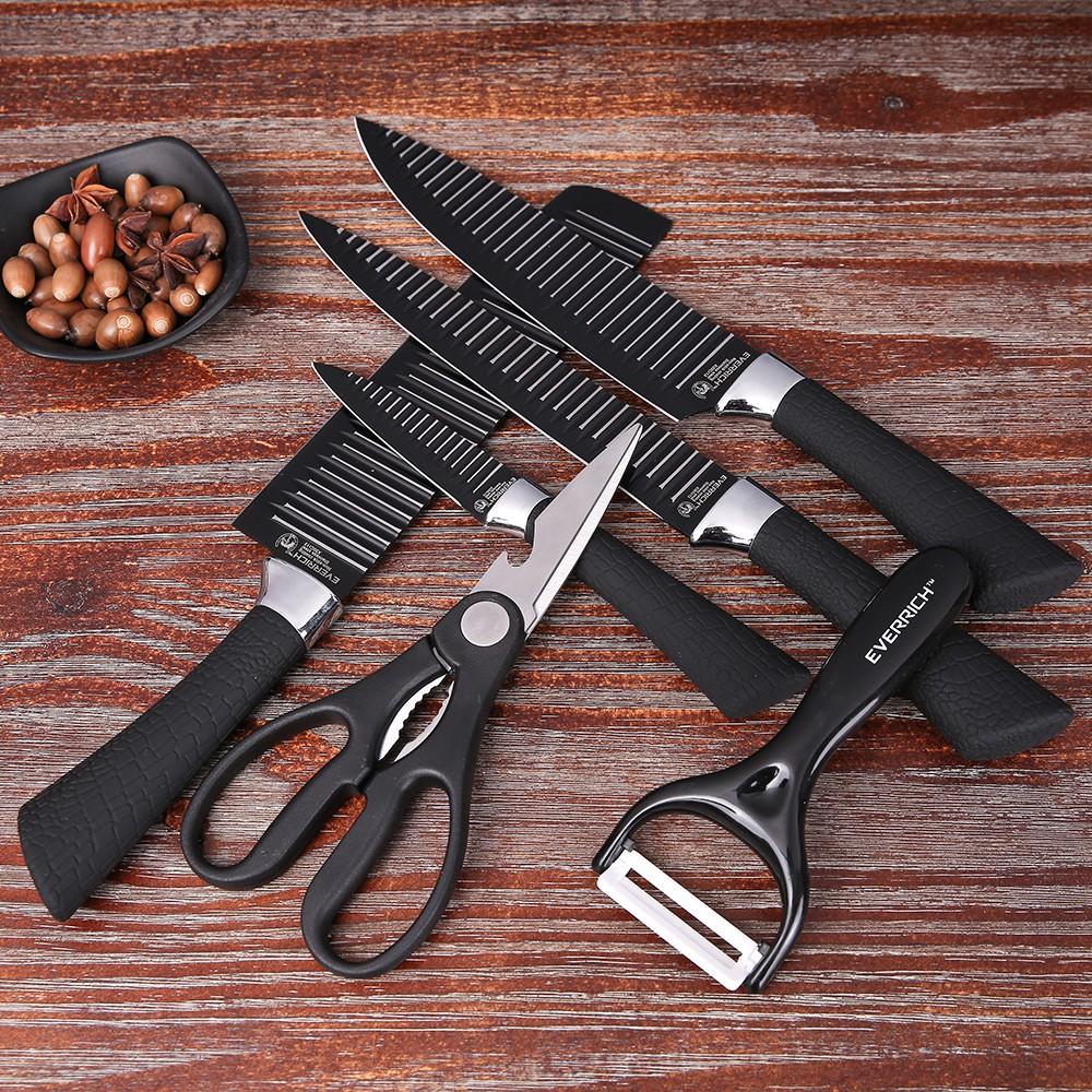 Everrich 6pcs Set Kitchen Knife Set Professional Chef