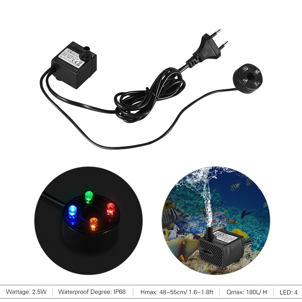 180l H 25w Submersible Water Pump With 4 Led Light Ultra Quiet For Pond Electrical Wiring 1 User Manualenglish