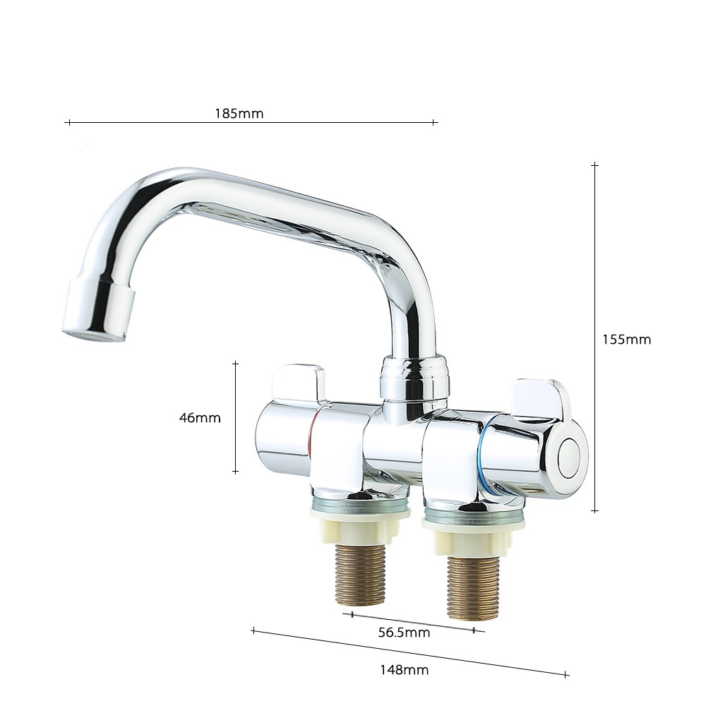 RV Kitchen Faucet Bar Faucet Rotating Foldable Double Handle Deck ...