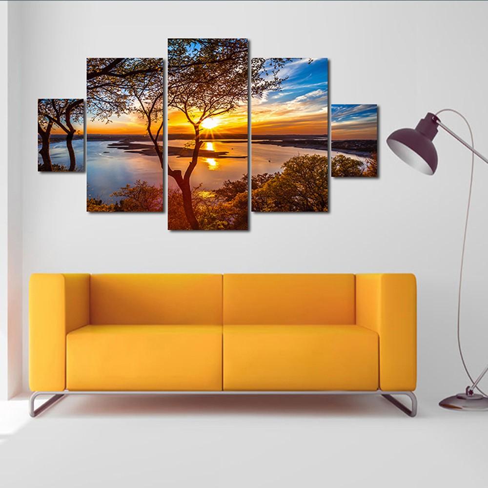 hd imprim 5 panneau sans cadre coucher de soleil paysage motif toile peinture mur art modulaire. Black Bedroom Furniture Sets. Home Design Ideas