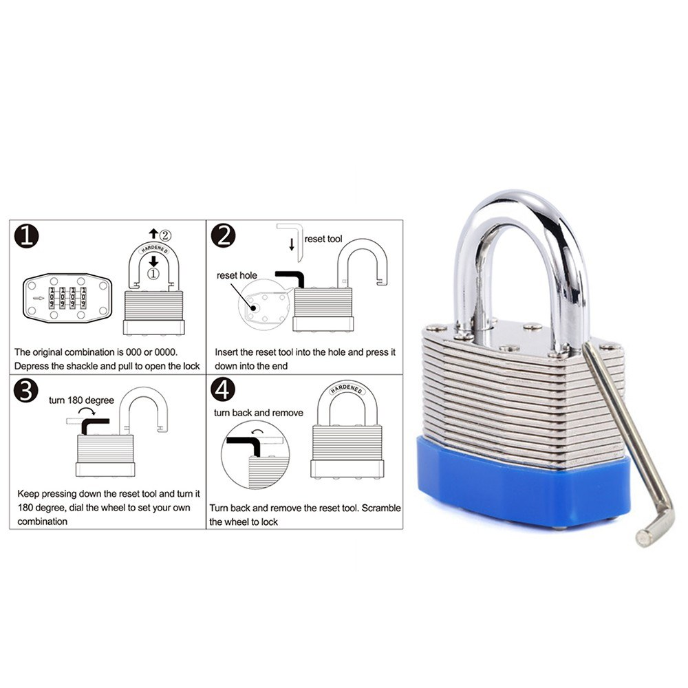 4-Digit Bottom Resettable Combination Padlock of Steel & Brass Anti-Theft  Security Padlock for School Gym Storage Gate Cabinet