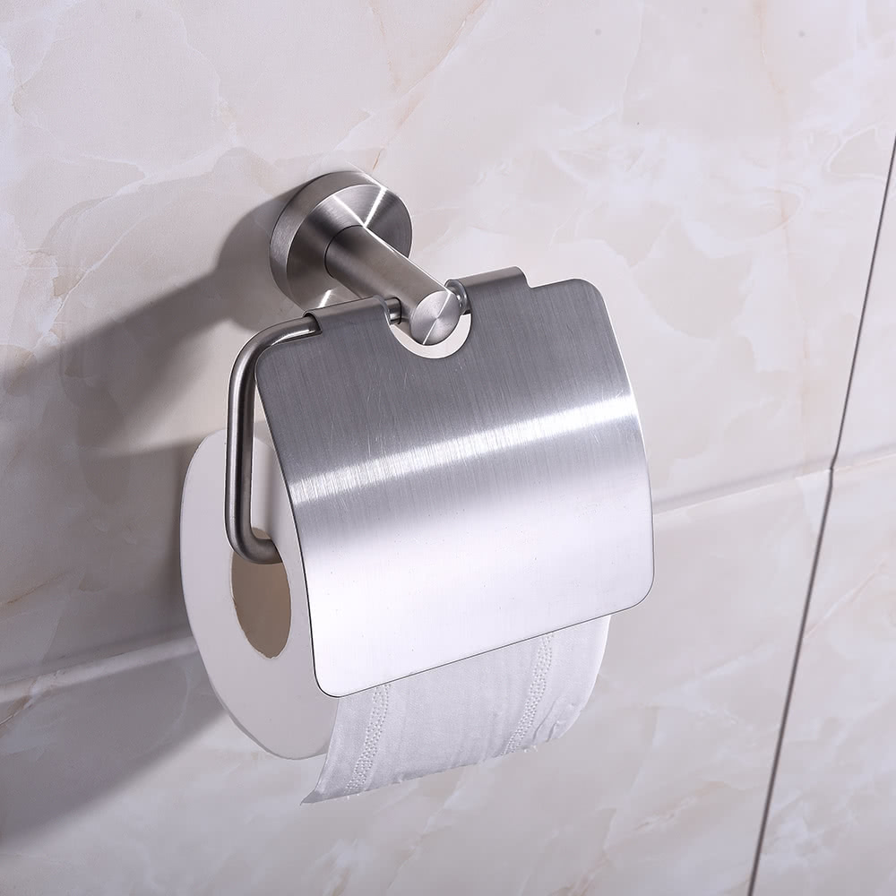 homgeek wand befestigter geb rstetes edelstahl toilettenpapier tissue rack halter aufh nger f r. Black Bedroom Furniture Sets. Home Design Ideas
