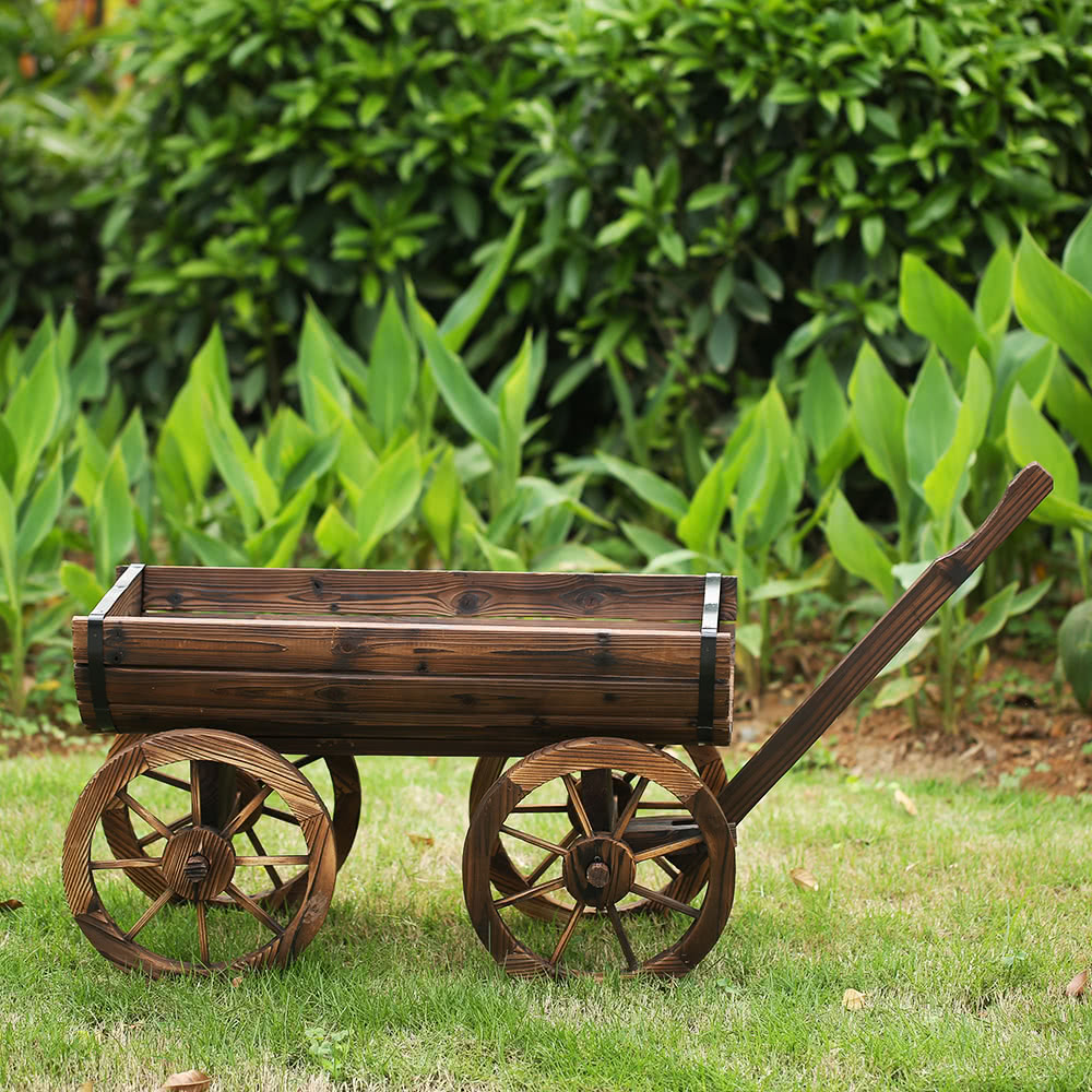 Ikayaa jardin wood wagon planter pot w wheels bo te de for Plantation de fleurs