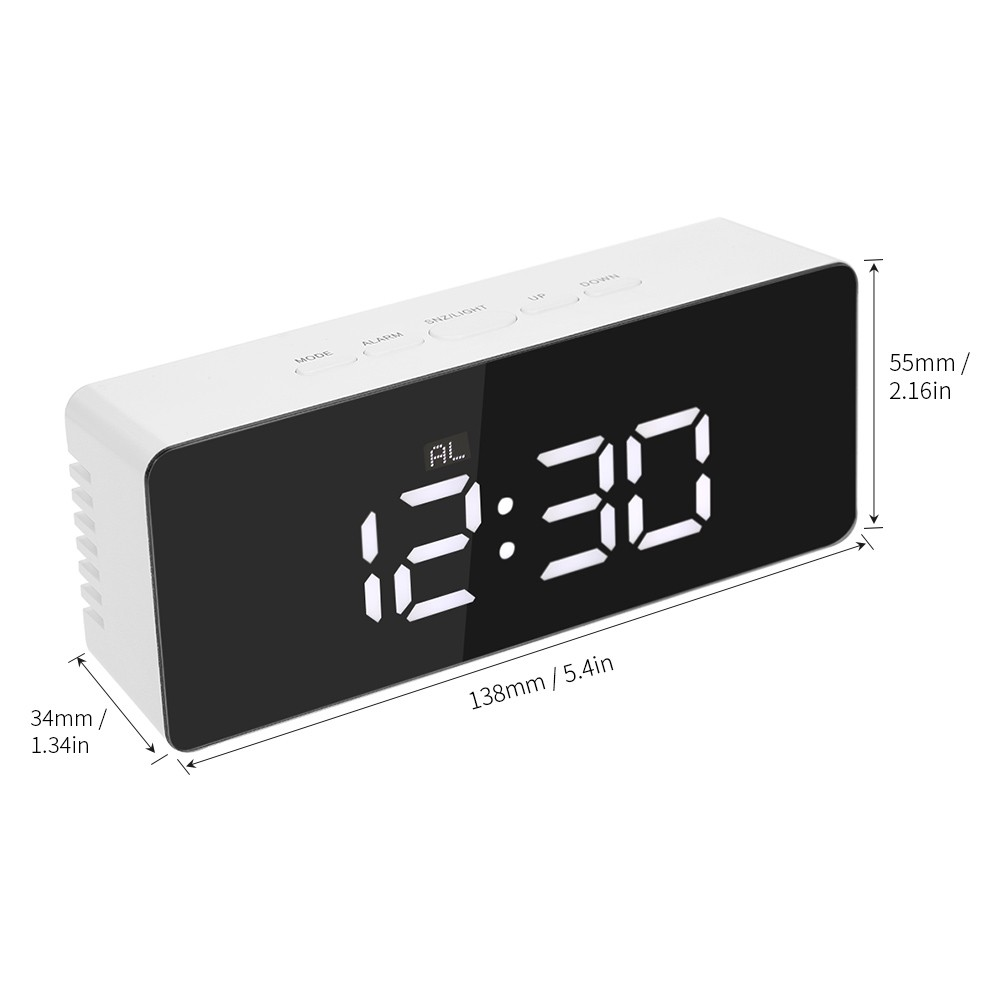 Digital Led Mirror Clock Usb Battery Operated Alarm S Online White Tomtop