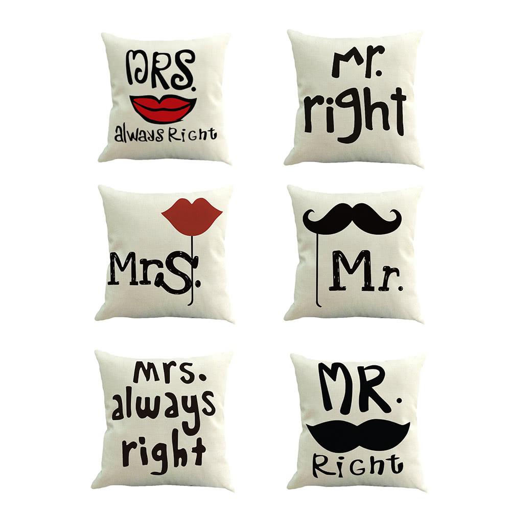 mode mr right mrs always right print baumwollgewebe home. Black Bedroom Furniture Sets. Home Design Ideas