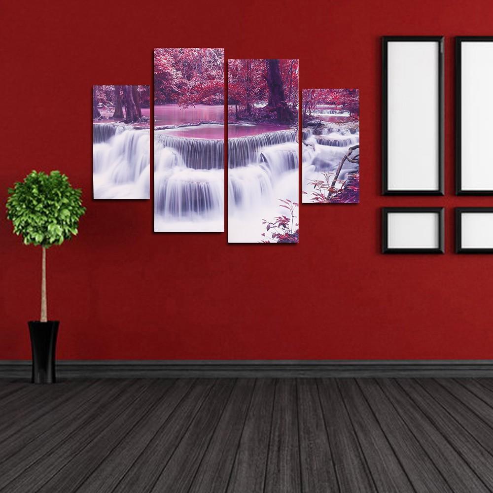 hd imprim 4 panneau sans cadre rable et cascade motif toile peinture mur art modulaire photos. Black Bedroom Furniture Sets. Home Design Ideas