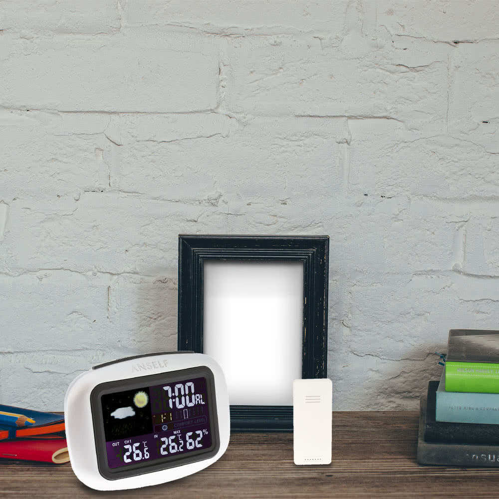 anself multifunktionale funk wettervorhersage uhr digital bunter lcd anzeige innen au en. Black Bedroom Furniture Sets. Home Design Ideas
