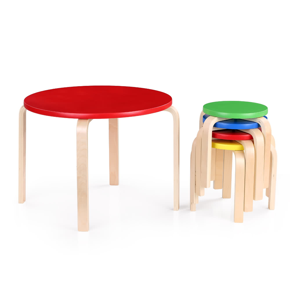 ikayaa cute solid wood round kids table and 4 chairs set fur