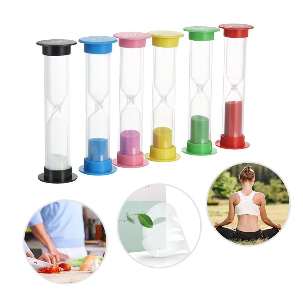 6pcs Sand Timer Colorful Sandglass Hourglass Timer for Kitchen Office Game  Timer 30sec / 1min / 2mins / 3mins / 5mins / 10mins