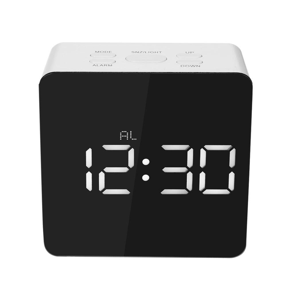 Digital LED Mirror Clock 12H/24H Alarm Snooze Function u00b0C/u00b0F Indoor Thermometer Adjustable LED Luminance