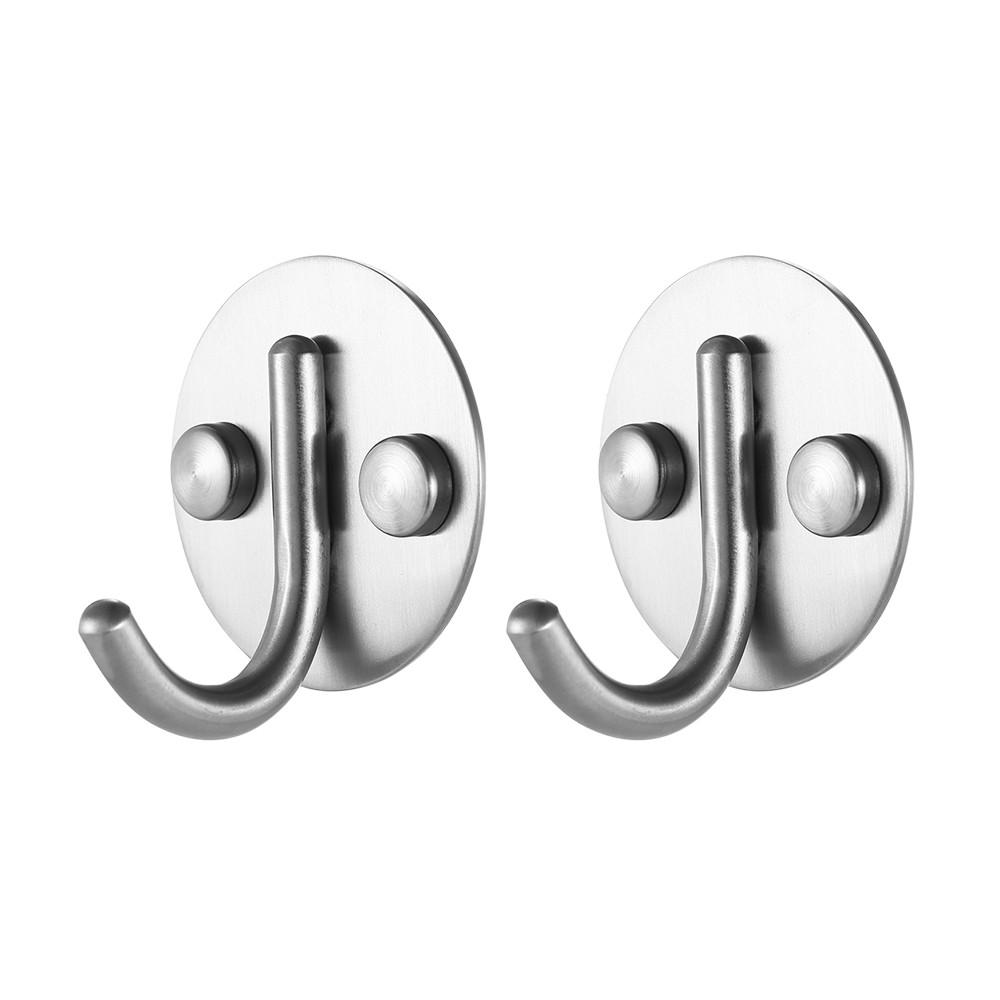 2 Teile//Satz Gute Qualit/ät Edelstahl Runden Haken Multifunktionale Platzsparende Kleiderhaken SS Wand Befestigte Haken Einzelhaken Set