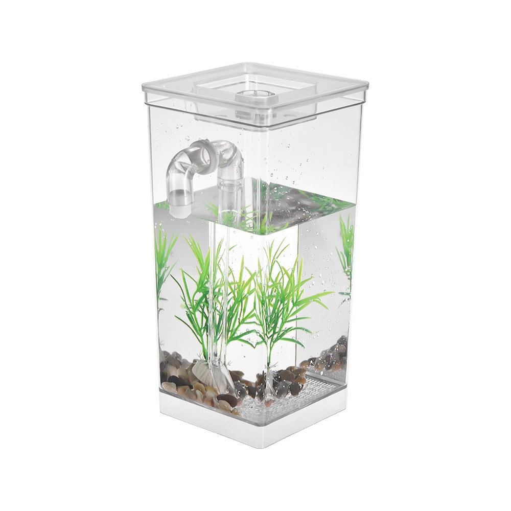Self cleaning small fish tank bowl convenient acrylic desk for Small fish tank