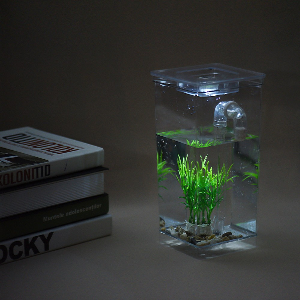 Self Cleaning Small Fish Tank Bowl Convenient Acrylic Desk Aquarium For Office Home Creative Gifts Children S Tomtop