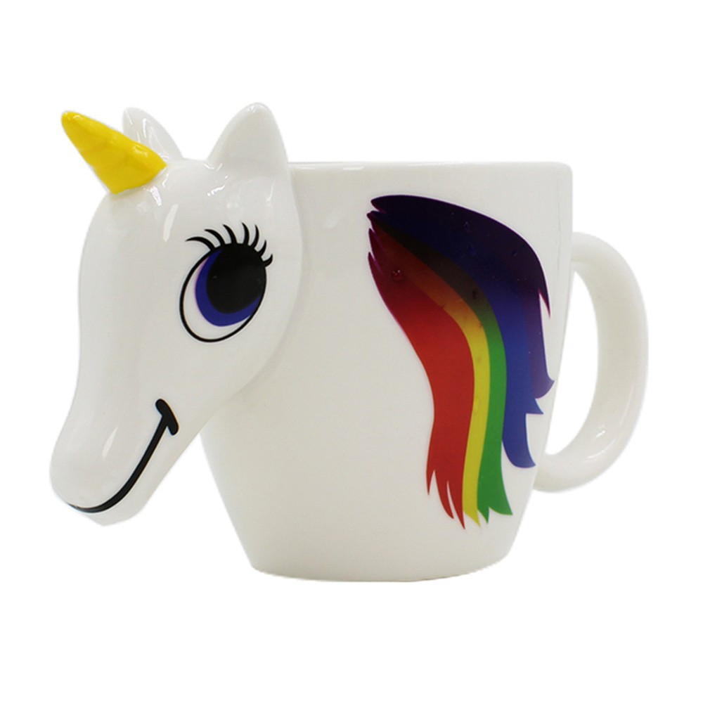 300ml Cartoon Unicorn Discoloration Mug Colorful 3D Color Changing-color Temperature