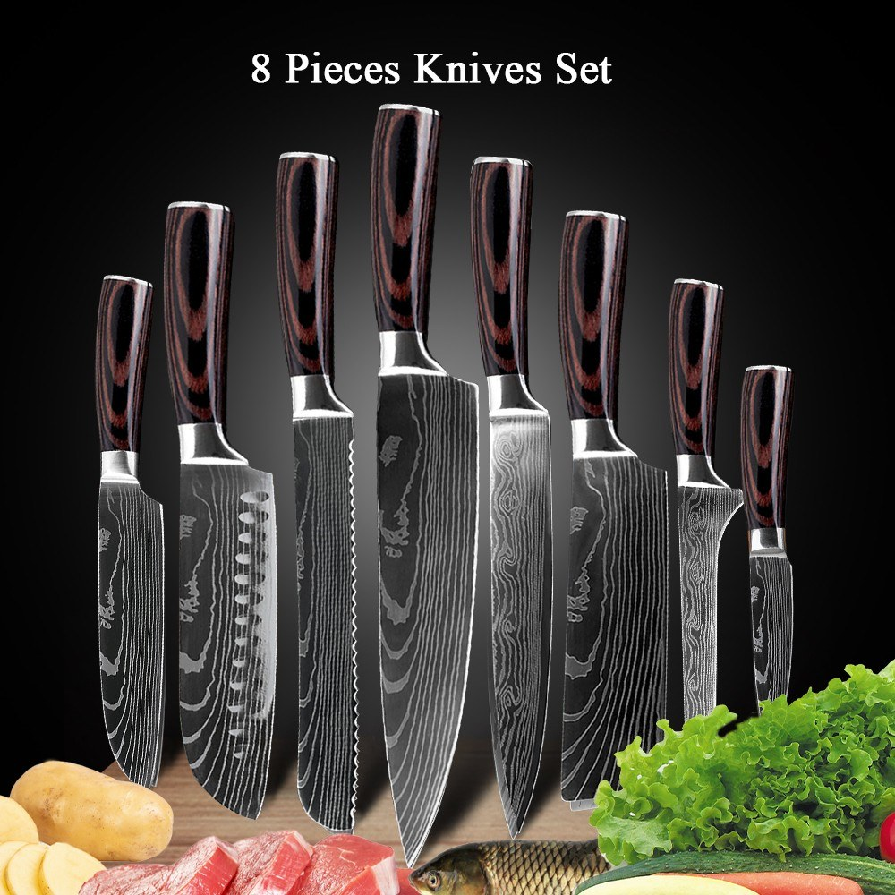 Tomtop - [UK Warehouse ] 48% OFF 8 PCS Knife Set Kitchen Knife Stainless Steel Knife, $41.99 (Inclusive of VAT)