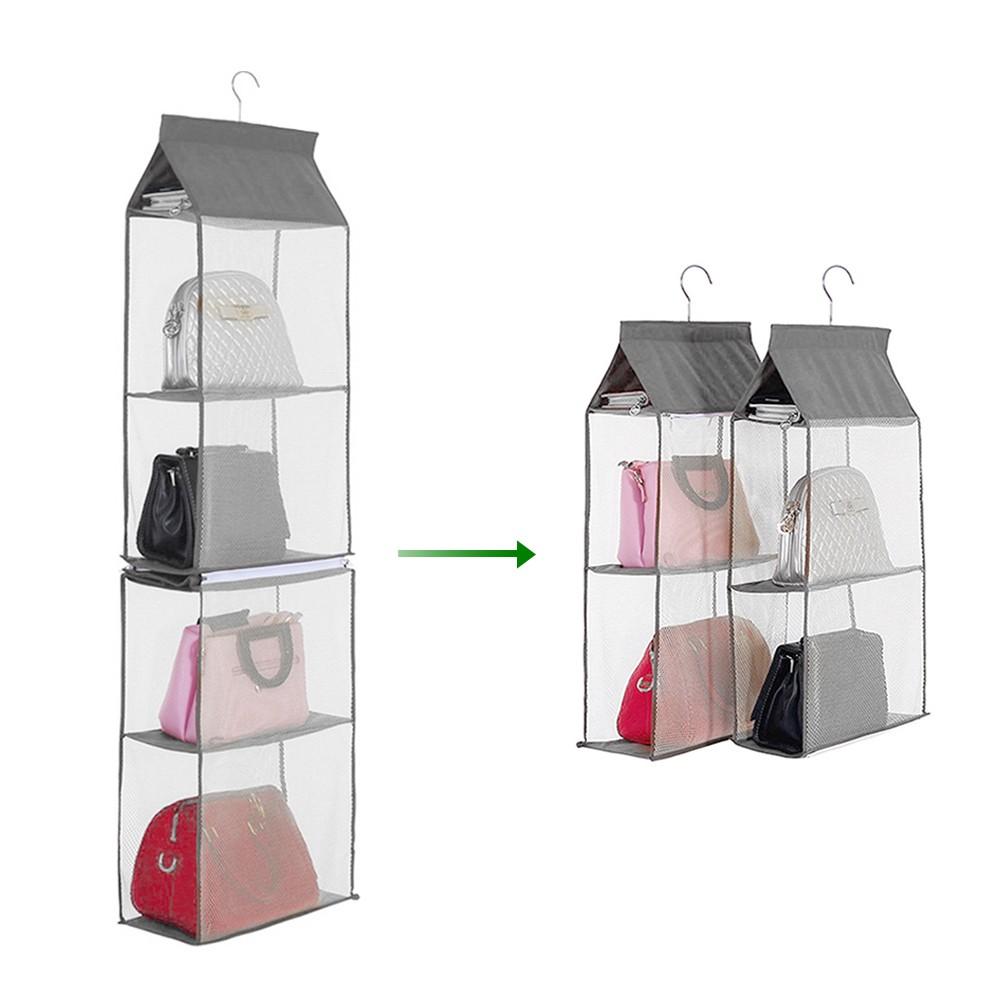 4-Tiers Non-woven Detachable Closet Bags Organizer Handbags Hanging ...