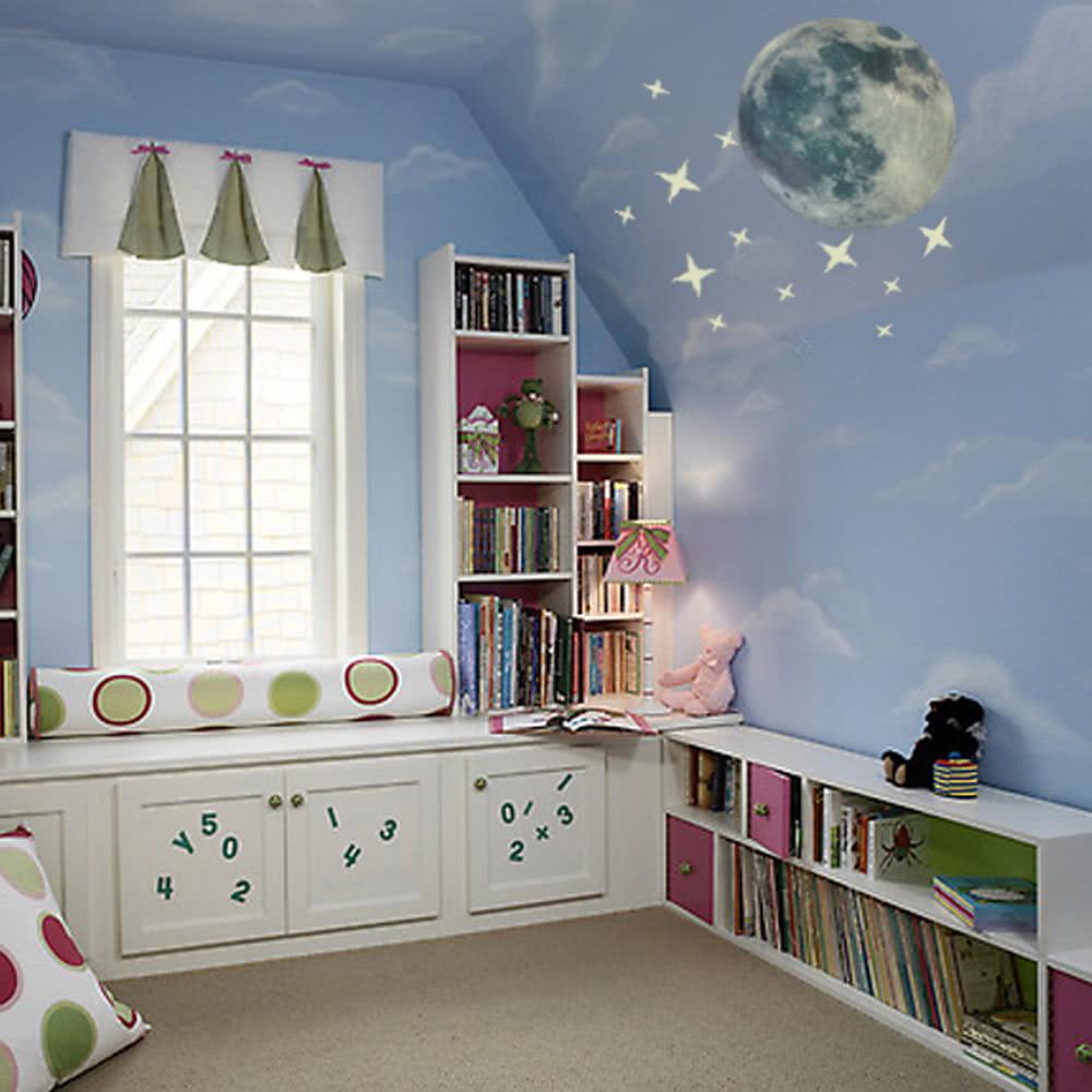 13pcs autocollants lumineux brillants lune et etoiles for Chambre a coucher 5 etoiles