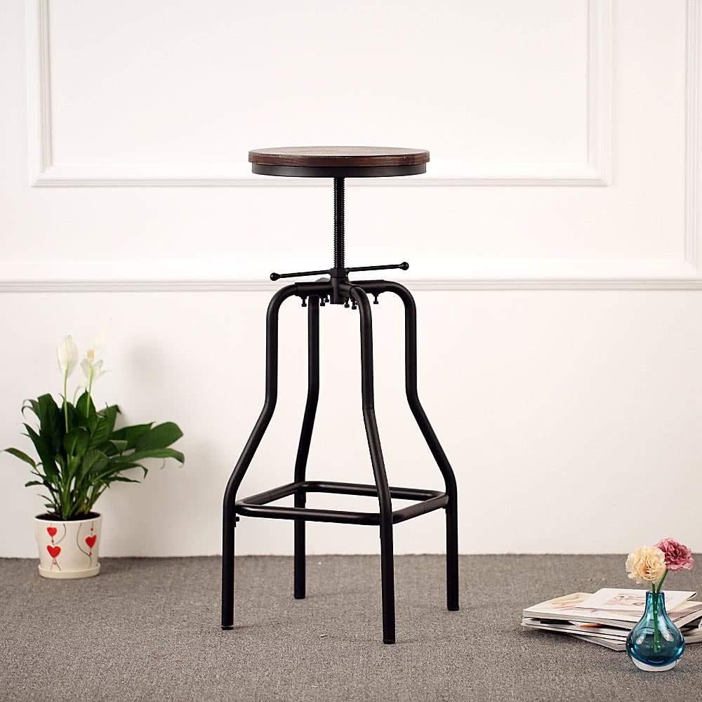 Ikayaa Industrial Style Height Adjustable Swivel Bar Stool