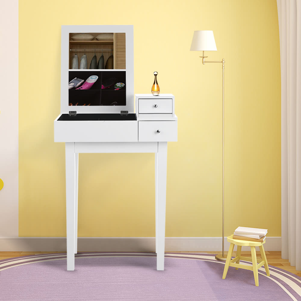 ikayaa bedroom vanity table make up dressing table w mirror u0026 drawer jewelry armoires storage bedroom furniture