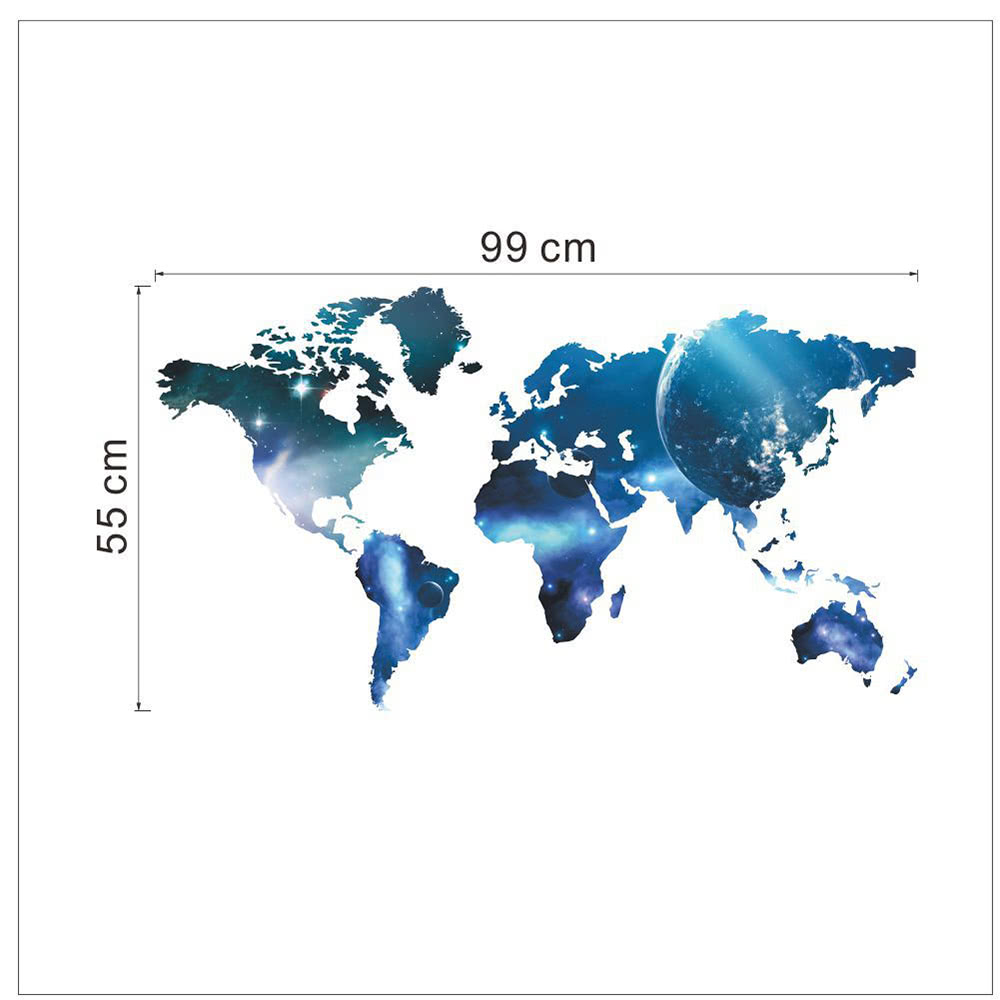Decorative self adhesive living room bedroom office world for Blue world map wall mural