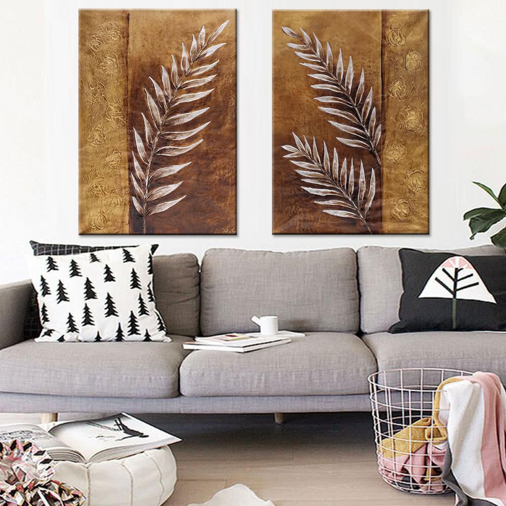 20 28 peinture l 39 huile peinte la main feuille sans cadre toile murale peinture. Black Bedroom Furniture Sets. Home Design Ideas