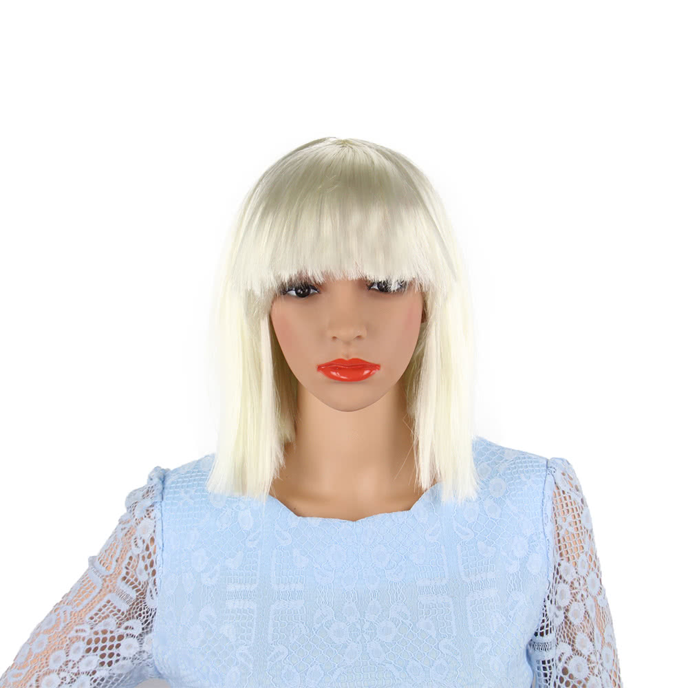 Adults Kids Bob Straight Short Hair Wig with Flat Bangs Women Synthetic  Full Head Wigs for Halloween Cosplay Costumes Beige